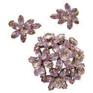 Vintage Sherman Lavender Alexandrite Brooch and Earrings Set