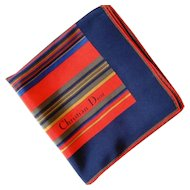 Christian Dior Designer Silk Scarf Navy and Red