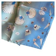 Beckford Silk Scarf Blue Nautical Shells