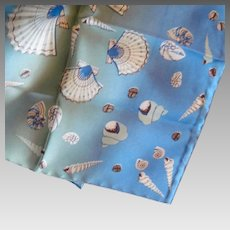 Beckford Silk Scarf Blue Nautical Shells