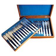 Antique Silver Fork and Knife 24 pc Fish Set Mother of Pearl Handles w Case