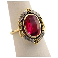 French Antique 18k Gold Ruby and Diamond Ring