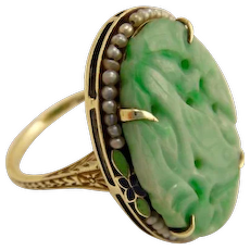 Antique 14K Yellow Gold Seed Pearl & Jade Ring