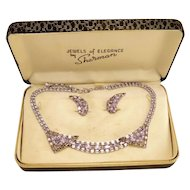 Vintage Sherman Purple Necklace and Earrings in Original Box