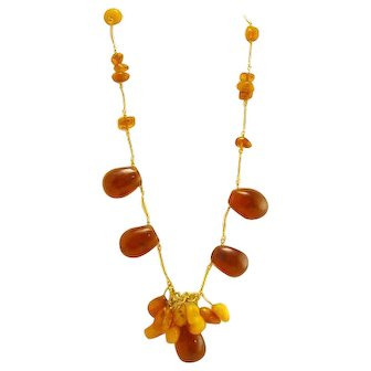 Gorgeous Vintage Genuine Baltic Amber Chunky Necklace