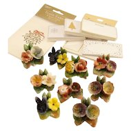 Set of 9 CAPODIMONTE Italian Porcelain Pottery Flower Table Place Card Holders