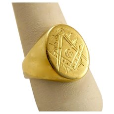 Estate Heavy Masonic Ring 18k Gold Hand Engraved