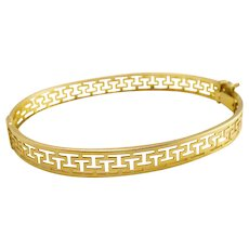Vintage Italian 14k Gold Greek Key Hinged Bangle Bracelet