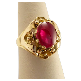 Vintage 14k Gold Ruby Ring Flower Setting