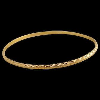 """Vintage Textured 14k Gold Bangle Bracelet Larger Size 9"""" Around"""