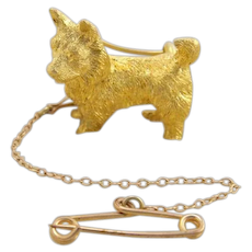 Antique 15k 15ct Gold 3D Figural Corgi Terrier Scotty Westie Dog Pin Brooch