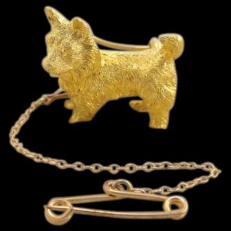 Antique 15k 15ct Gold 3D Figural Corgi Terrier Scotty Westie Dog Pin Brooch