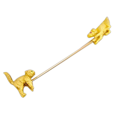 Antique 15k 15ct Dog and Cat Jabot Brooch Stick Pin