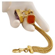 Antique 18k Watch Chain Fob with Amethyst and Carnelian 42.5 g