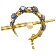Antique 15k 15ct Gold Sapphire Diamond Pearl Crescent Brooch