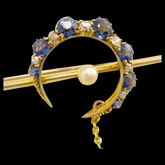 Antique 15k 15ct Gold Sapphire Diamond Pearl Crescent Brooch