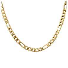 """Heavy 14k Gold Italian Figaro Curb Chain Necklace 18"""" 8.7 Grams"""