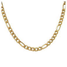 "Heavy 14k Gold Italian Figaro Curb Chain Necklace  18"" 8.7 Grams"
