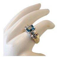 Quality Vintage 14k White Gold Diamond London Blue Topaz Ring