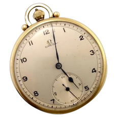 Vintage Classic OMEGA Mid-Century Gold Plated Open Face Pocket Watch