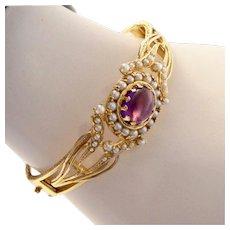 Edwardian 14k Gold Amethyst Seed Pearl Hinged Bangle Bracelet