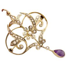 Antique Edwardian 14K Gold Amethyst Seed Pearl Lavaliere Pendant Necklace Brooch