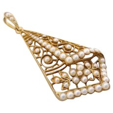 Antique Edwardian 15k Gold Seed Pearl Pendant Necklace