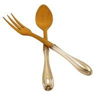 "BIRKS Sterling Silver Wood Salad Servers Spoon Fork 10 1/4"""