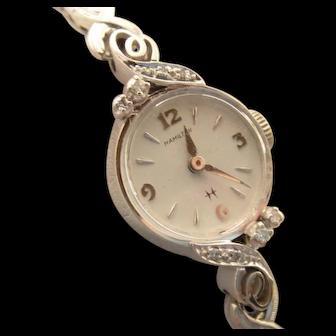 Vintage 10k White Gold Hamilton Ladies Diamond Wristwatch