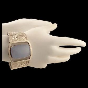 Vintage Heavy Bold Sterling Silver Lavender Jade Cuff Bracelet