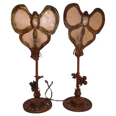 Pair of Art Nouveau Lamps with Mica Butterfly Shades