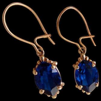 Vintage 10k Gold Navette Sapphire Earrings