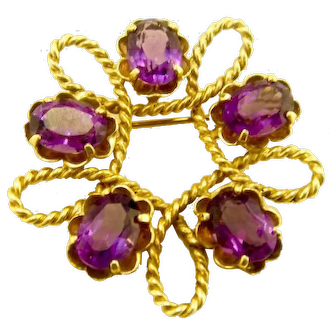 Vintage 14k Gold Amethyst Brooch