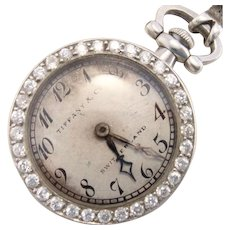 Antique Tiffany & Co Platinum Diamond Ladies Pocket Watch