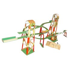 Vintage Western Germany 'Coney Island Roller Coaster' Tin Wind Up Toy