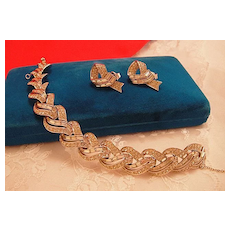 Fabulous Signed Boucher Pave Rhinestone Bracelet and Earrings