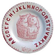 Antique Alphabet Plate ~ Cats ~ Soft Place 1880