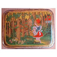 Early French Fontaine Biscuit Tin ~ Red Riding Hood 1930