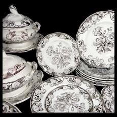 Pearlware Miniature Botanical 35pc Dinner Set c1840 Morley Staffordshire Child