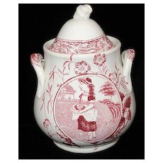 19th C. Childs Red Transferware Biscuit Jar ~ Little May Apron Eggs