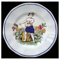 Antique Child's Pearlware Plate ~ March 1840
