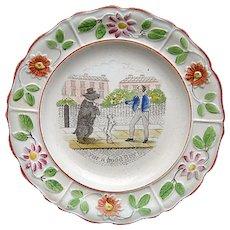 Pearlware Reward Plate ~ For a Good Boy 1820 Dancing Bear