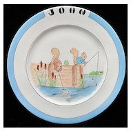 American Christening Plate for Boy named JOHN Fishing Squirrels Cat Tails 1945