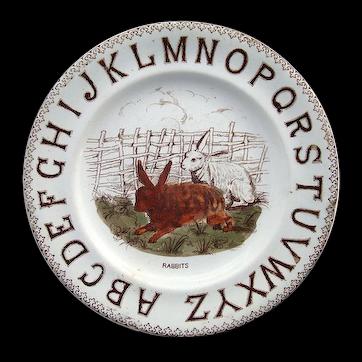 Staffordshire ABC Alphabet Plate ~ TWO RABBITS 1880