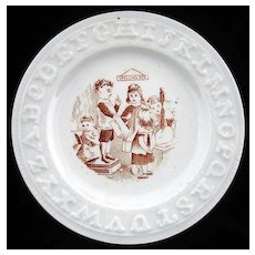 Alphabet Pearlware ABC Plate ~ SPELLING BEE c1895