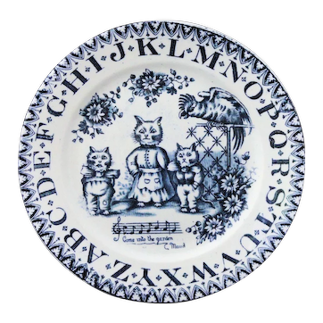 Childs ABC Plate LOUIS WAIN Cats and Parrot Allerton Transferware England 1890 Tennyson
