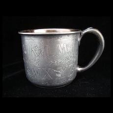 Antique Silver Plate  ABC Mug ~ Nursery Tales 1920