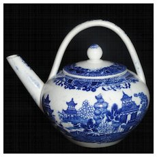 Miniature Pearlware Teapot Water Kettle c1800 Chinoiserie Spode Blue Willow