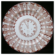 Alphabet Plate ~ Clock, Numbers and Calendar 1880