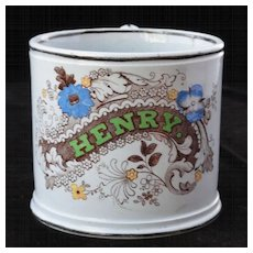 Early Childs Christening Name Mug FOR HENRY Staffordshire c1850 Polychrome